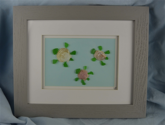 10in x 12in Turtle family seaglass scene