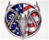 Simulated Chrome American Flag Deer Head Hunting Full color Graphic Window Decal Sticker
