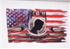 POW MIA Tattered / Ripped American Flag Full color Graphic Window Decal Sticker