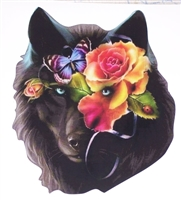 Butterfly Rose Wolf  Full color Graphic Window Decal Sticker