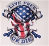 LIVE FREE or DIE American Flag SkullFull color Graphic Window Decal Sticker