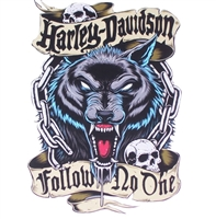 HD FOLLOW NO ONE Wolf Biker Full color Graphic Window Decal Sticker