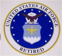 US AIR FORCE RETIRED circle Full color Graphic Window Decal Sticker