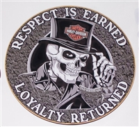 Respect is Earned Loyalty Returned Biker Skull Full color Graphic Window Decal Sticker