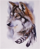 Indian Feather Wolf  Full color Graphic Window Decal Sticker