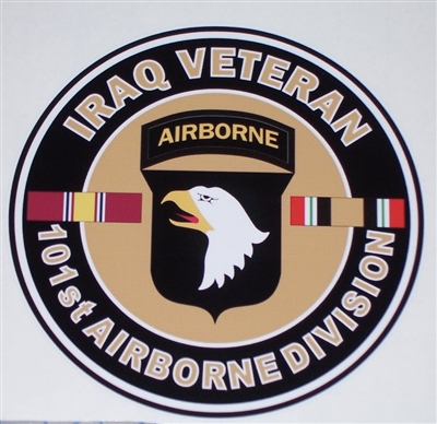 Iraq Veteran 101st Airborne Circle   Full color Graphic Window Decal Sticker