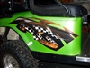 Green EZGO w/ Golf Cart Street Race HOOD & Side Graphics