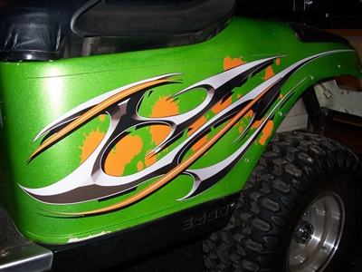 Green EZGO w/ Golf Cart Draft Checkered Flag Tribal HOOD & Side Graphics