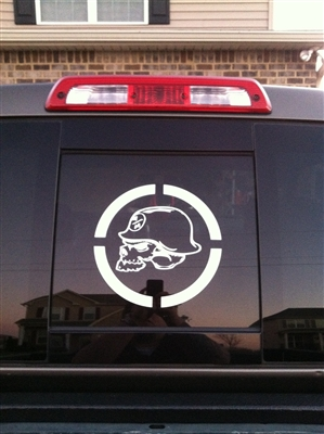 Truck window w/ Metal Militia Skull Circle Window 9X9 Decal
