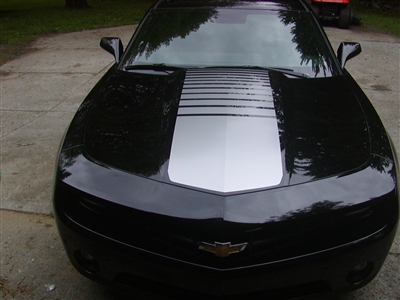 Black Camaro w/ Grey FADING Strobe Faded CENTER HOOD Stripe Decal
