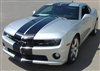 "White Camaro w/ Black 10"" Rally Stripe Graphics set"