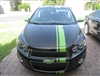 "Black Sonic w/ green 6"" Offset Rally Stripe Set"