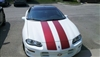 "White Camaro w/ Burgundy 10"" Twin Rally stripes"