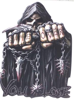 Game Over You Lose Grim Reaper Skull Full Color Graphic