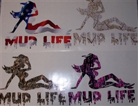 MUD LIFE ! Real Tree M4 camo  Muddy girl Cracked Mud Rebel Flag Full color Graphic Window Decal