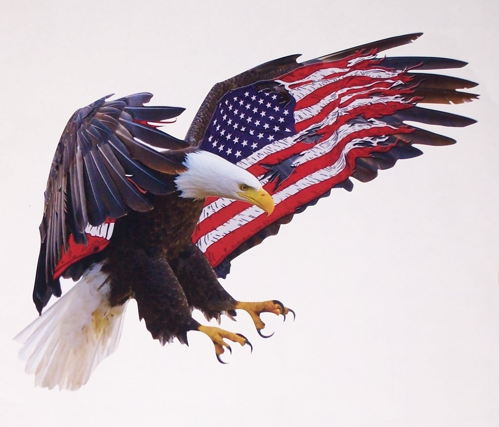 american flag attack eagle 2 full color graphic window decal stick