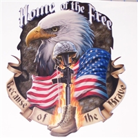 Home of free Because of Brave Eagle  Full color Graphic Window Decal Sticker