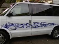 "White Van w/ Blue Dragon Side #3 Size 19"" wide X 109"" long"