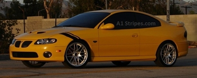 "Gold Car w/ 4"" 1"" Fender Hash Mark Stripes PAIR Grand Sport Decal"