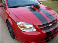 "Red Cobalt w/  Black 8"" Rally Stripes"