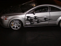 Silver car w/ Black Tribal Flames side graphics #1 Decal