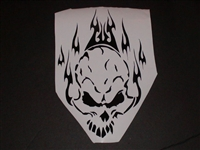 Tribal Flaming Skull Hood or Window Decal #1