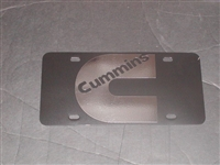 Cummins C Logo Vanity License Plate Black plate