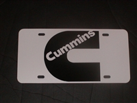 Cummins Logo Vanity License Plate White