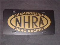 NHRA DRAG RACING License Vanity Plate Black with GOLD logo