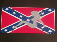 Trucker Girl Confederate Rebel Flag License Vanity Plate