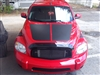 Red FAT HHR w/ Flat Black Hood Rally Stripe Set
