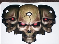 3 Tribal Skull W/ Red Eyes FULL COLOR Hood Tailgate Or Trailer printed Graphic decal