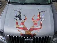 American Flag Flame FULL COLOR HOOD Decal