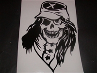 Rebel Skull Hood Decal