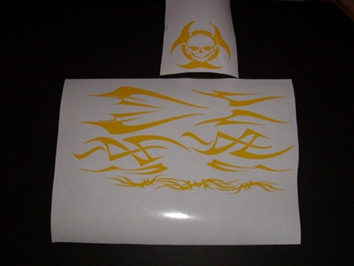 TRIBAL Helmet Graphic decals W/ Skull Bio hazard