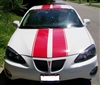 "White Gran Prix w/ Red 10"" Rally Stripes With .5 Space and .5 stripe to side"