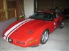 Red Chevy Corvette w/ White Offset Rally Stripe