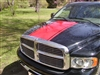 "Black Dodge Ram w/ Red 22"" Wide Center Rally Stripe Set"