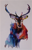 colorful Painted Deer Buck  Full color Graphic Window Decal Sticker