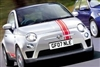 "Silver Fiat 500 w/ Red 6"" OFFSET Rally stripes set"