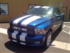 "Blue Dodge Ram w/ White 11"" Twin Rally Stripe"