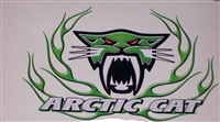 Green Carbon Fiber Arctic Cat Flame 9.5x7 Decal