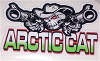 "Arctic Cat Skull w/ Guns 15""x30"" Decal"