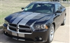 "Black Charger w/ Gray 10"" Rally Stripes"