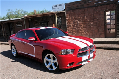 "Red Dodge Charger w/ White 11"" Twin Rally Stripe Set"