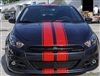 "Red Dodge dart w/ Black 6"" Twin Rally Stripe Set"