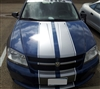 "Blue Dodge Avenger w/ Silver 10"" 2 color Rally Stripe Set"