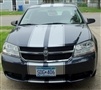 "Black Dodge Avenger w/ silver 10"" Rally Stripe Set"