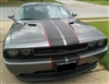 Gray Dodge Challenger w/ red & Black 2 Color Rally Stripe Set
