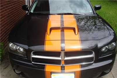 black Charger w/ Orange Rally Stripe Set